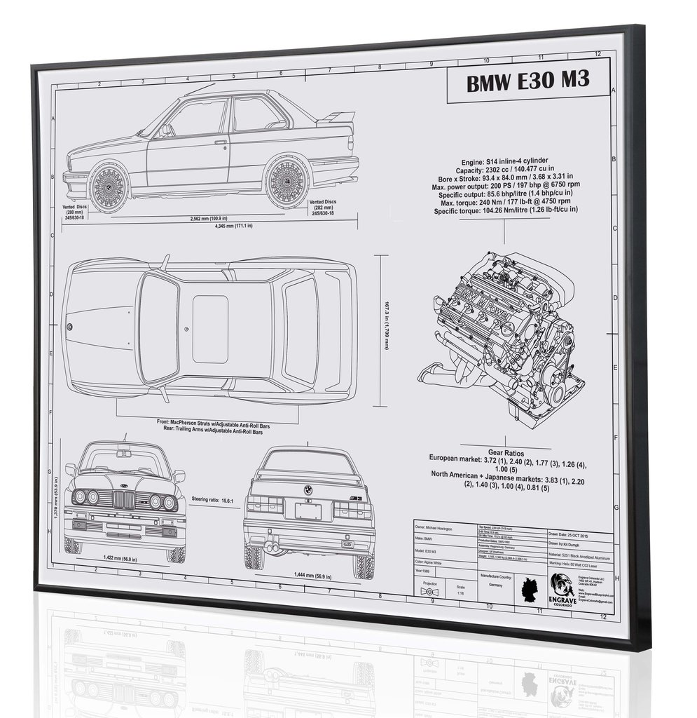Bmw e30 m3 by engraved blueprint art choice gear malvernweather Images