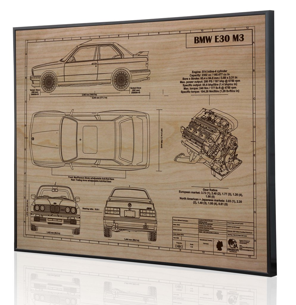 Bmw E30 M3 By Engraved Blueprint Art Choice Gear F1 Engine Diagram