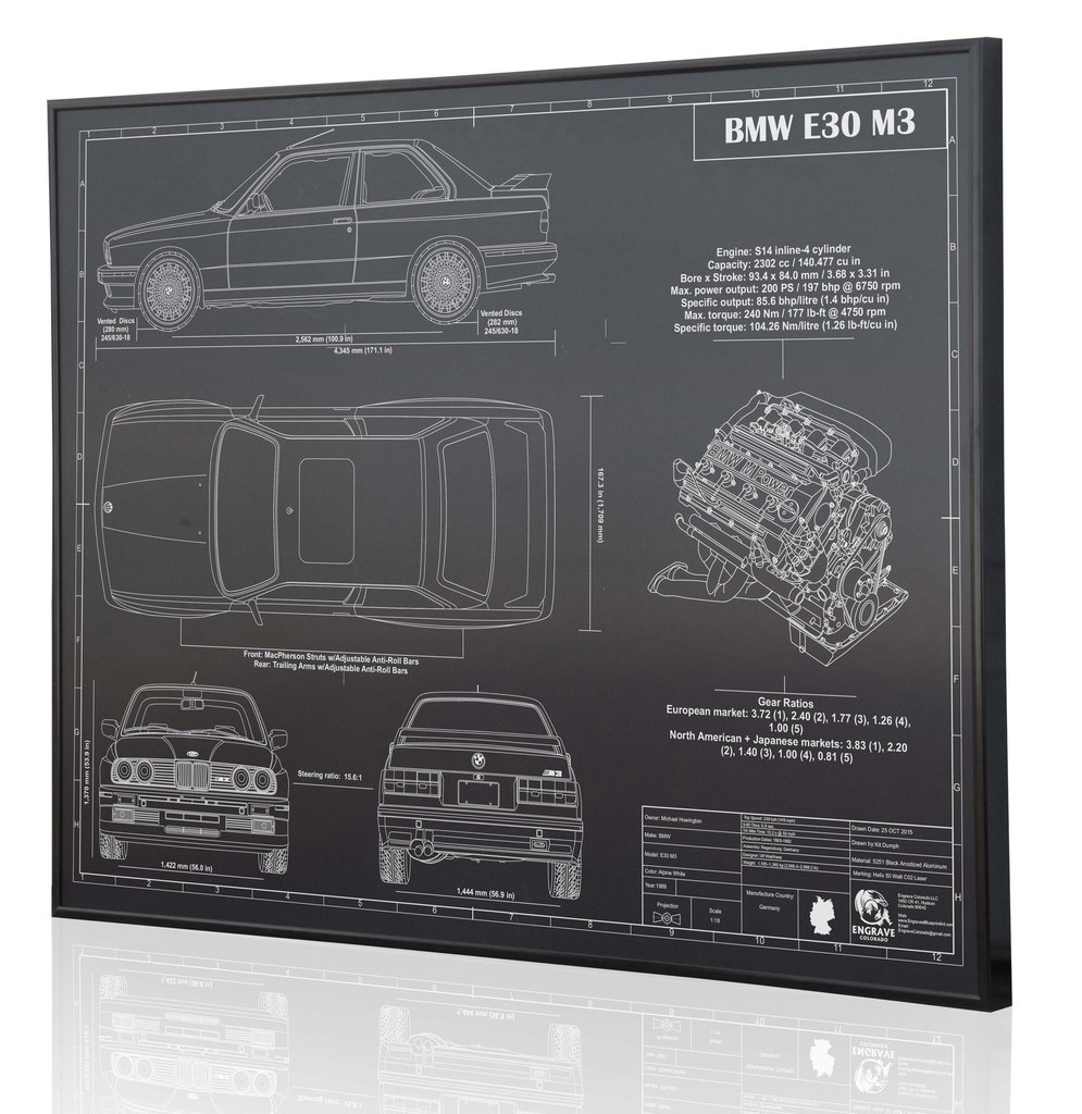 Bmw e30 m3 by engraved blueprint art choice gear malvernweather Image collections