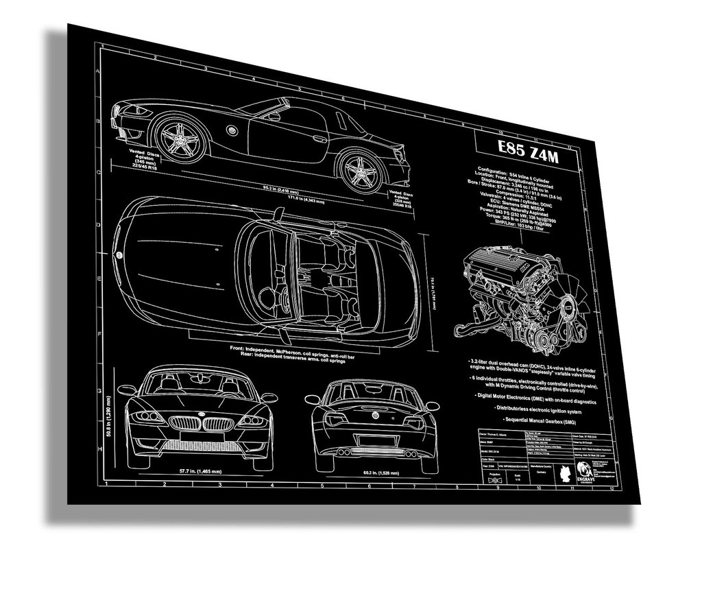 Bmw Z4m Interior: BMW E85 Z4M By Engraved Blueprint Art