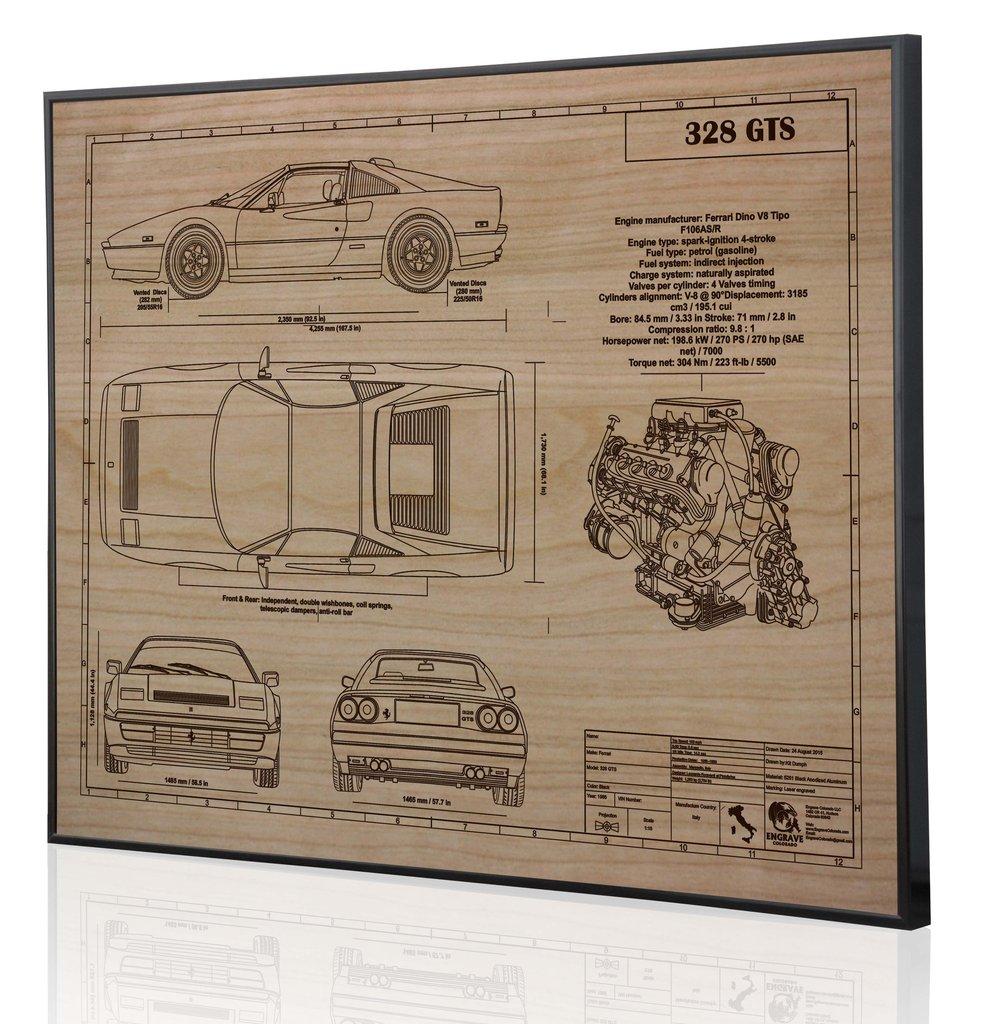 Ferrari 328 Gts By Engraved Blueprint Art Choice Gear