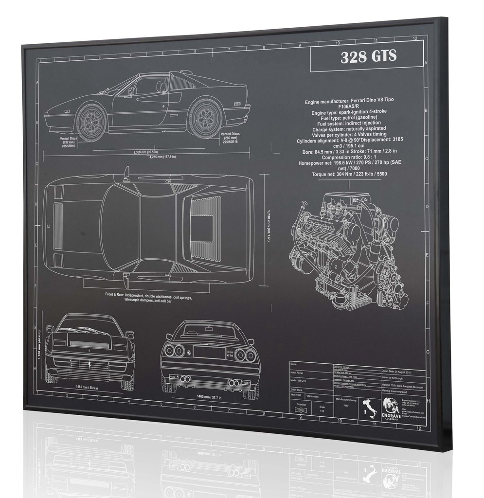Ferrari 328 gts by engraved blueprint art choice gear shop owner engraved blueprint art malvernweather Images