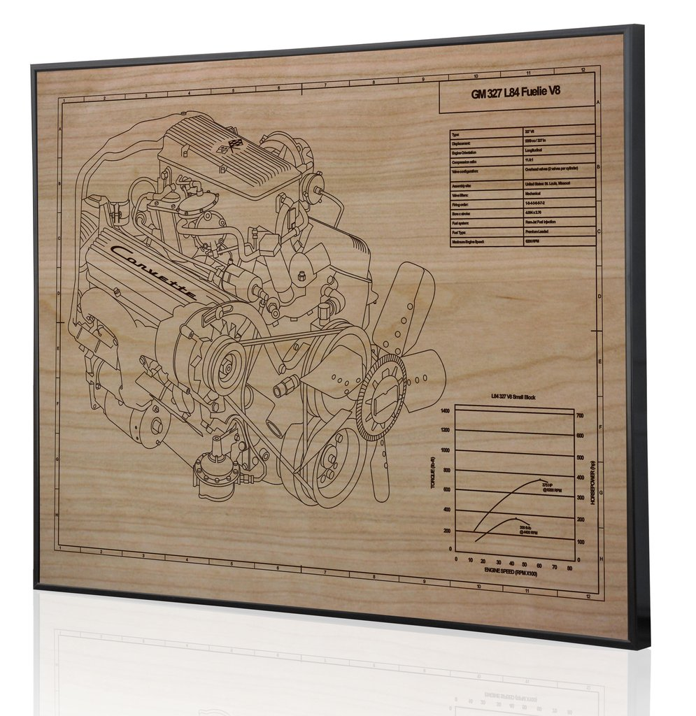 Gm 327 l84 fuelie engine by engraved blueprint art choice gear shop owner engraved blueprint art malvernweather Image collections