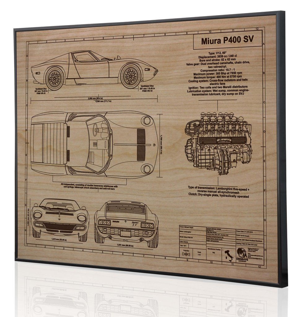 Lamborghini miura p400 sv by engraved blueprint art choice gear malvernweather Images