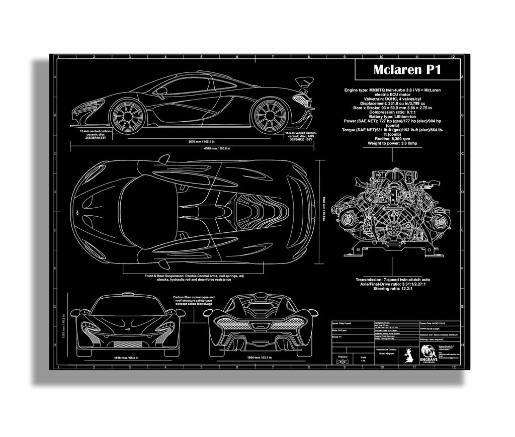 Mclaren p1 by engraved blueprint art choice gear shop owner engraved blueprint art malvernweather Gallery
