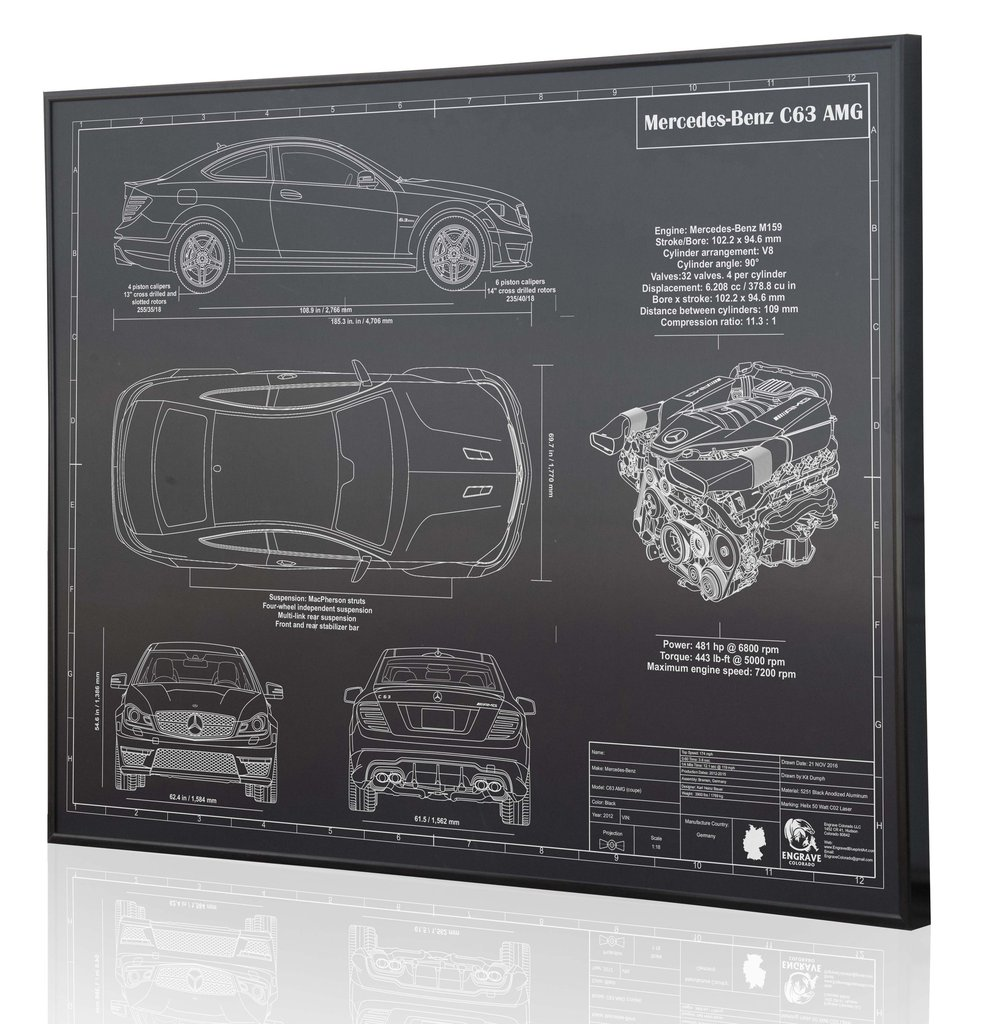 Mercedes benz c63 amg by engraved blueprint art choice gear shop owner engraved blueprint art malvernweather Image collections