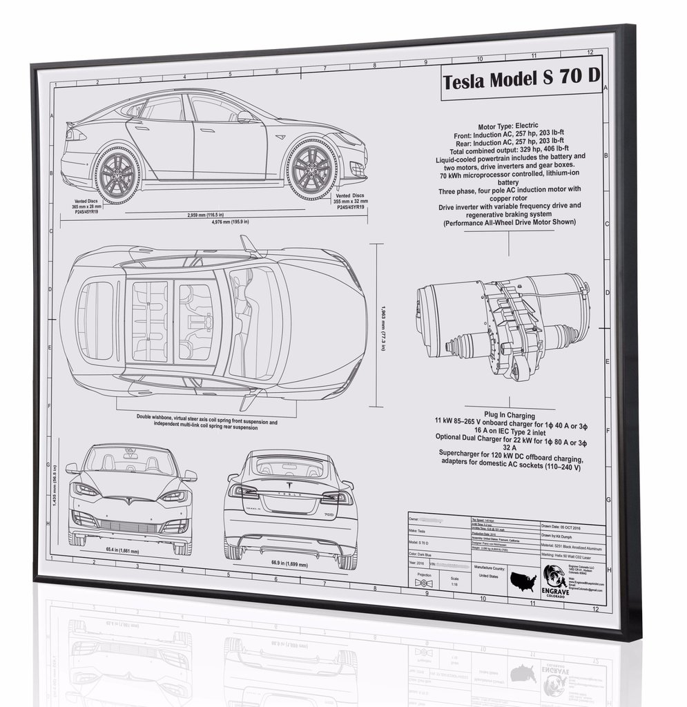 Tesla Model S 70d By Engraved Blueprint Art Choice Gear