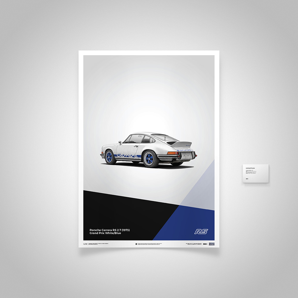 grand prix white porsche 911 carrera rs poster by unique limited gallery choice gear. Black Bedroom Furniture Sets. Home Design Ideas