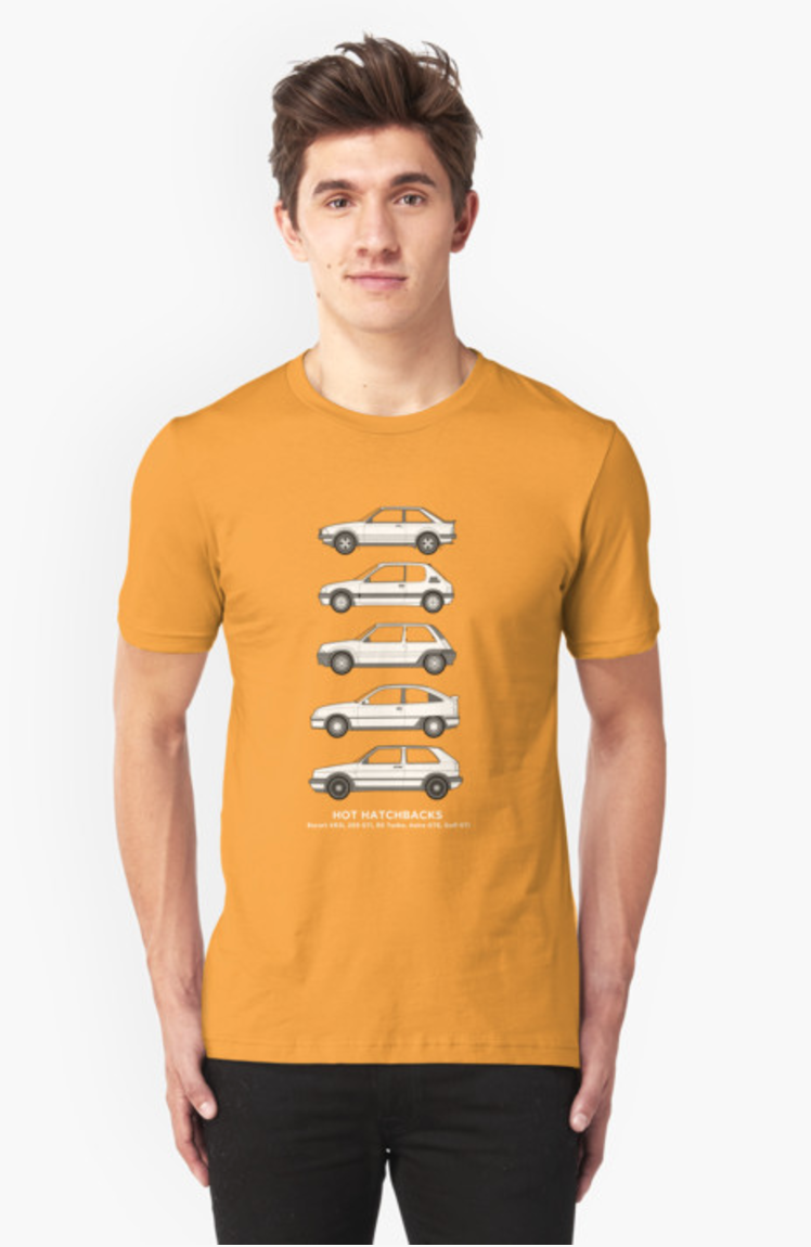 Hot hatchbacks t shirt by rjwautographics via redbubble for Sweaty t shirts and human mate choice