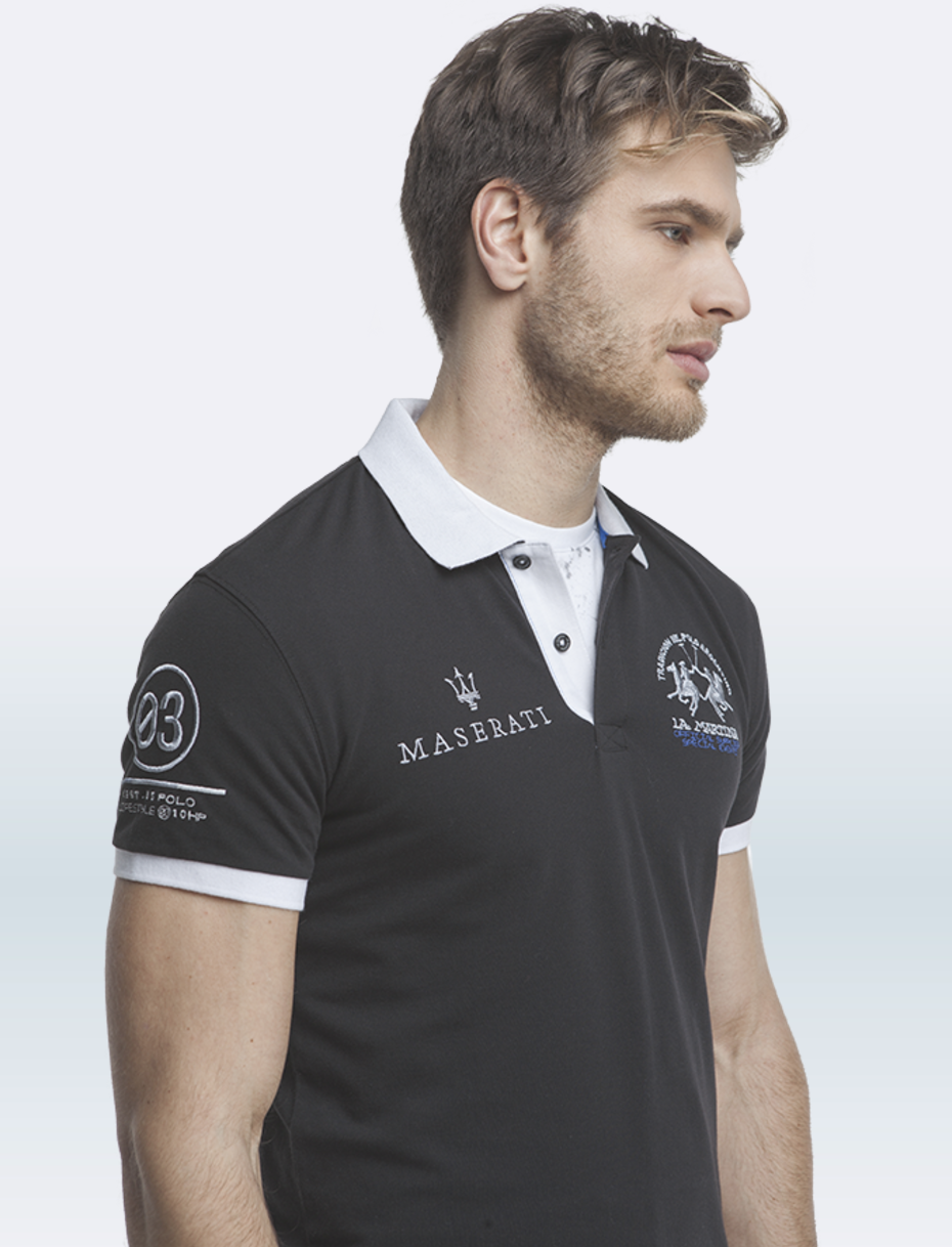 maserati anselm black short sleeve polo shirt by la martina choice gear. Black Bedroom Furniture Sets. Home Design Ideas
