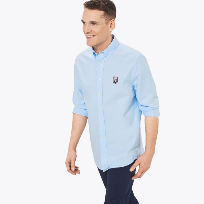 capri blue tech prep le mans oxford shirt by gant choice gear. Black Bedroom Furniture Sets. Home Design Ideas