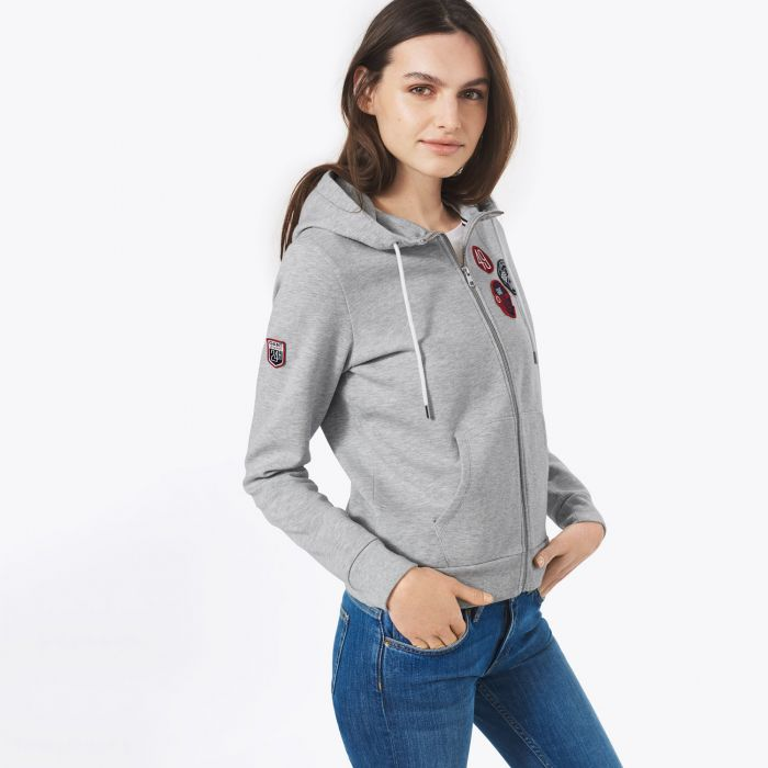 ladies le mans grey hooded sweatshirt by gant choice gear. Black Bedroom Furniture Sets. Home Design Ideas
