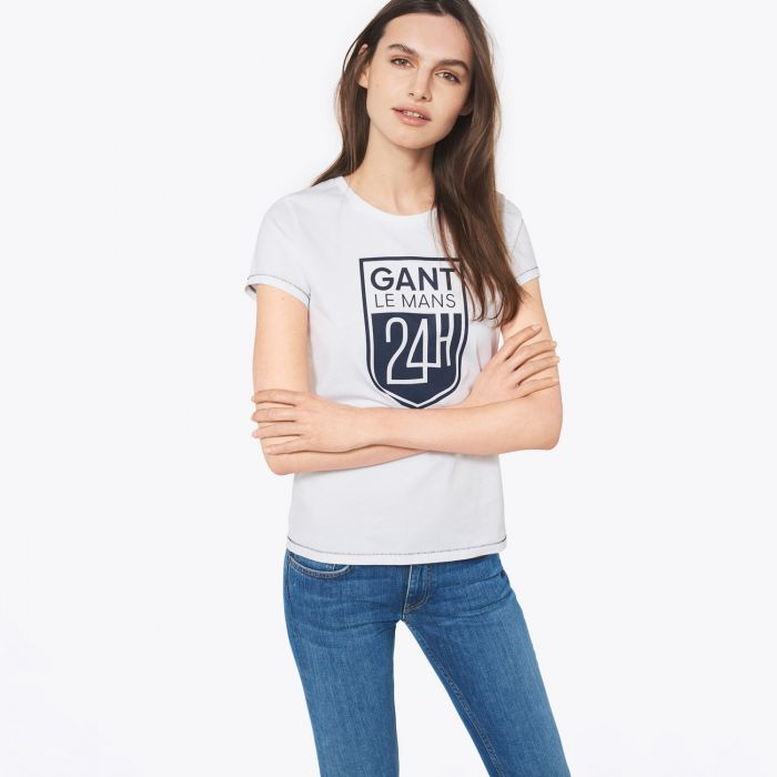 ladies white le mans badge t shirt by gant choice gear. Black Bedroom Furniture Sets. Home Design Ideas