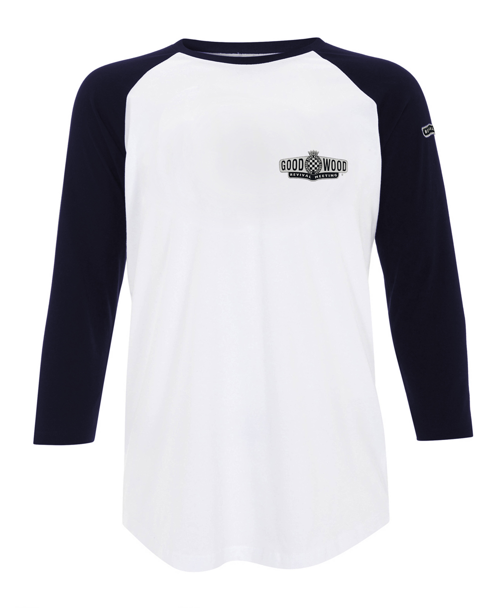 Ladies Vintage White And Navy Revival Baseball T Shirt By