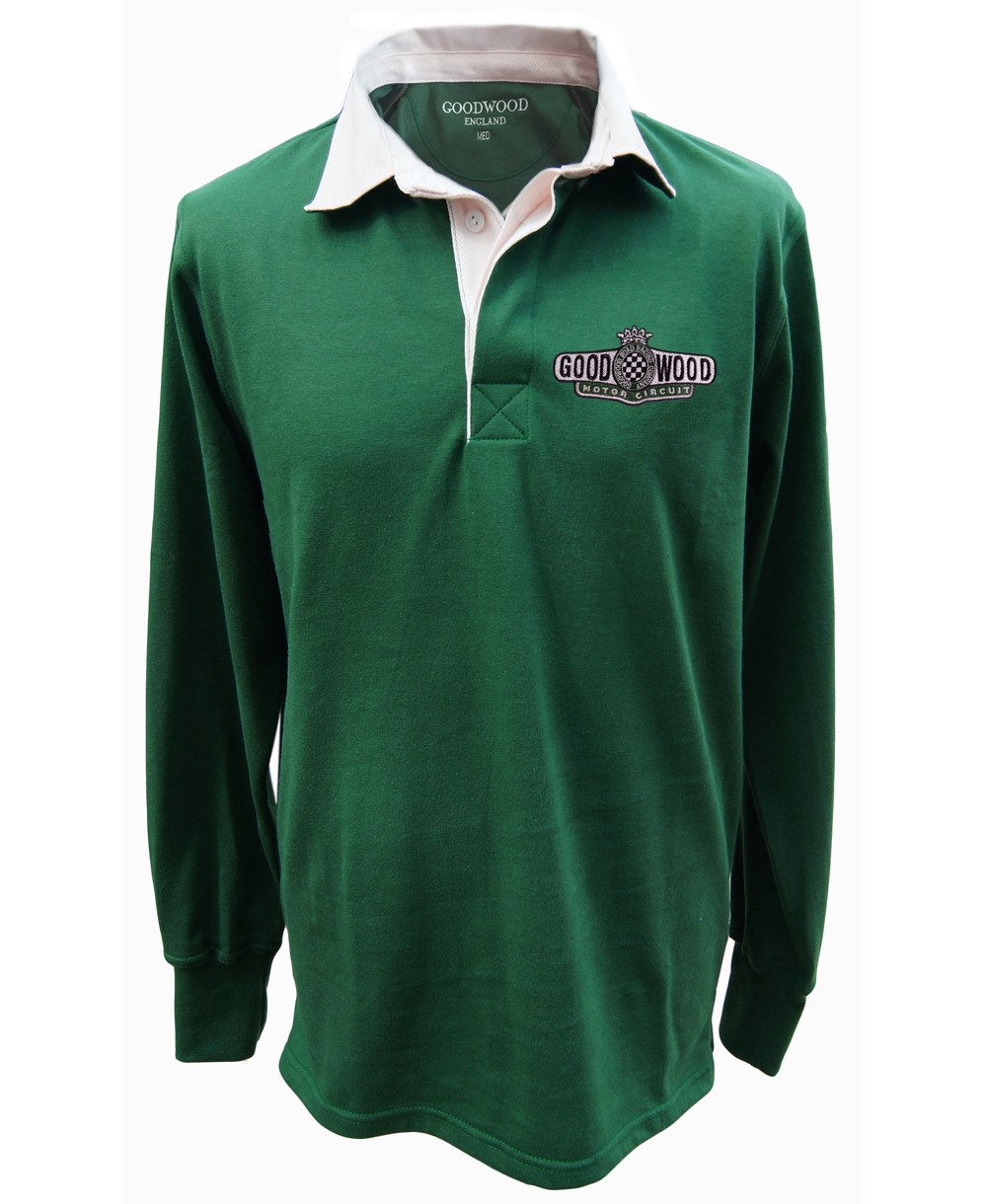 Mens Racing Green Motor Circuit Logo Rugby Shirt By