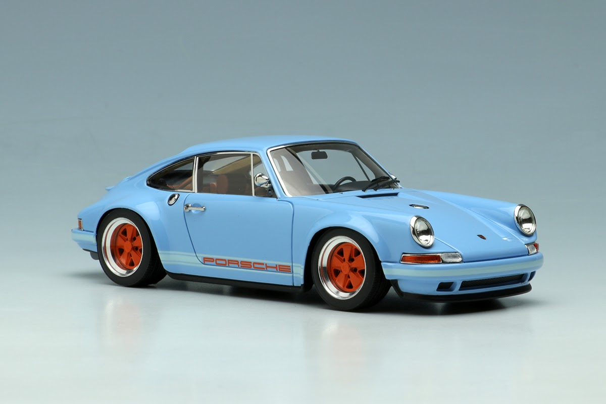 Gulf Blue Porsche Singer 911 Make Co Ltd 143 Scale on electric work benches