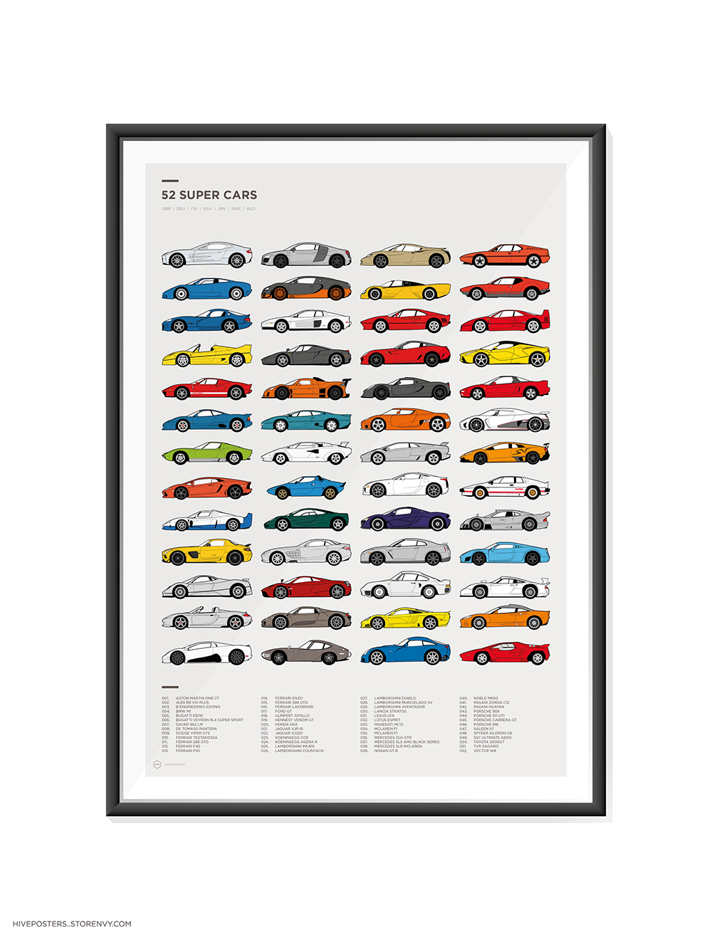 52 Great Supercars Poster By Hive Posters Choice Gear