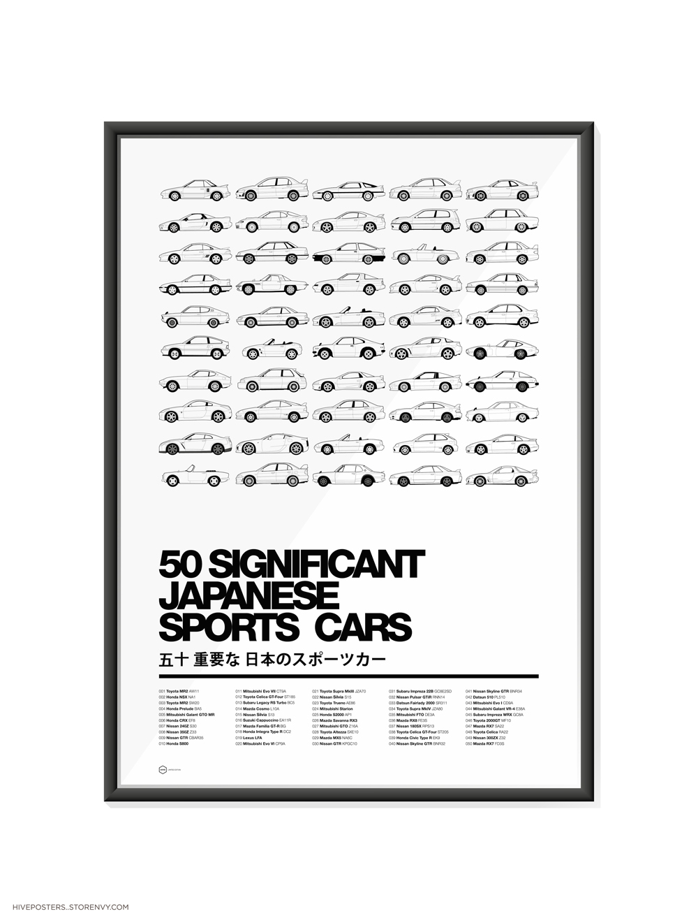 Significant Japanese Sportscars Poster By Hive Posters Choice - Sports cars posters